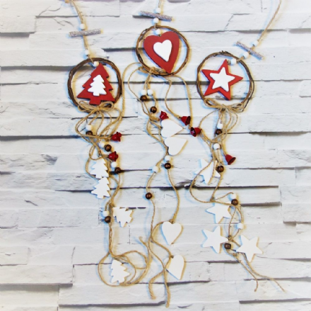 Red & White Hanging Tree Decoration